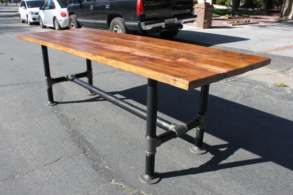 Rustic reclaimed wood table with industrial pipe legs for Mobilia kitchen table