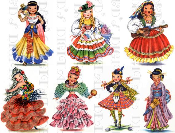 Dolls Of Many Countries Vintage Illustrations Digital Download Printable Digital Sheet Seven 4 Girls For Paper Craft 2 Paper Dolls Clothing Vintage Illustration Vintage Paper Dolls