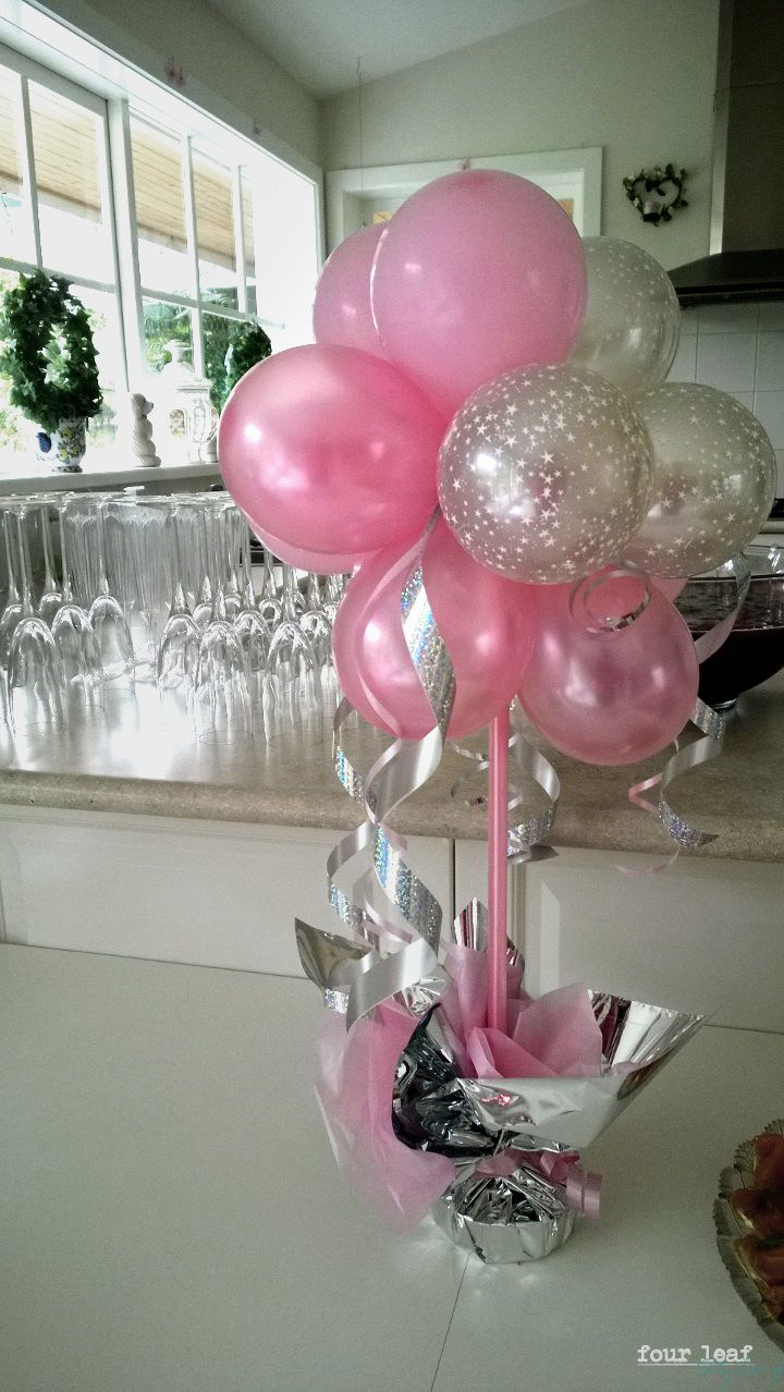 pink and silver colour theme | Event Styling by Four Leaf | Balloons ...