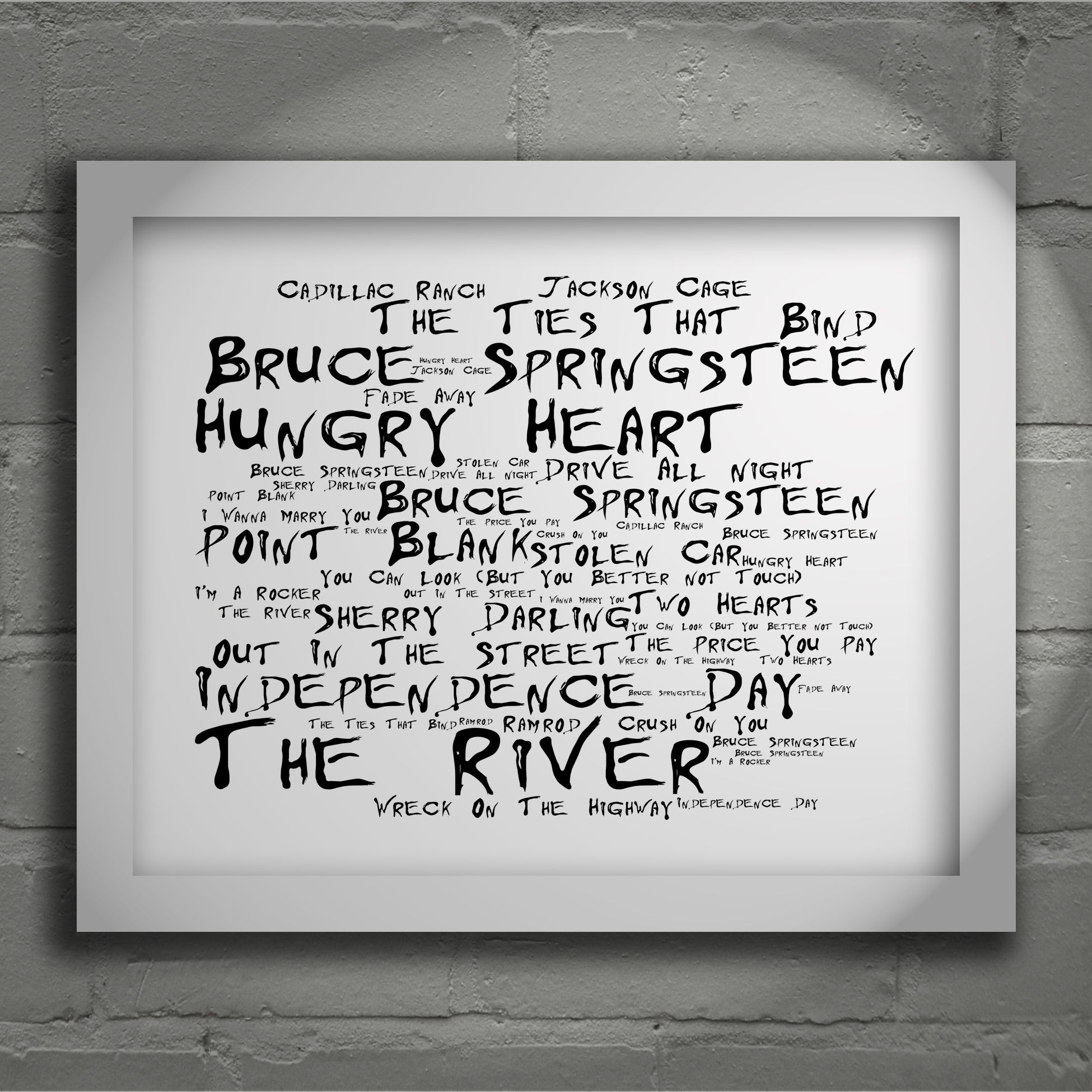 Bruce Springsteen The River limited edition typography