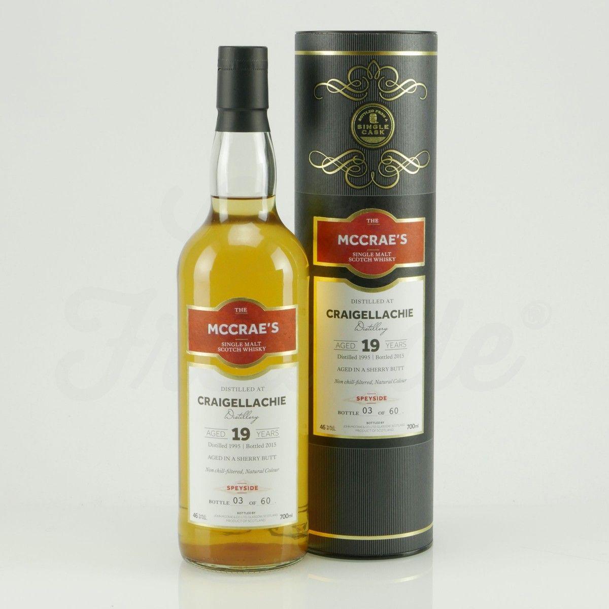 """105 Euro #whisky - MCCRAE'S Craigellachie Spey Si.Ca.Scotch Whisky19J - Schottischer Craigellachie Whisky, Speyside Region, recht süss, malzig-nussig, oftmals fuchtig und rauchig. Auf 60 Flaschen limitiert, 1995 destilliert und in einem """"Sherry Butt"""" gereift, aus einem Fass abgefüllt."""