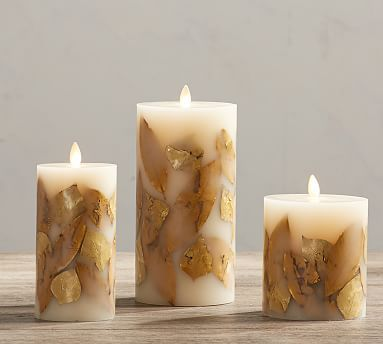 Pottery Barn Flameless Candles Classy Gold Leaf Inclusion Premium Flicker Flameless Candle  Gold 4 X 45