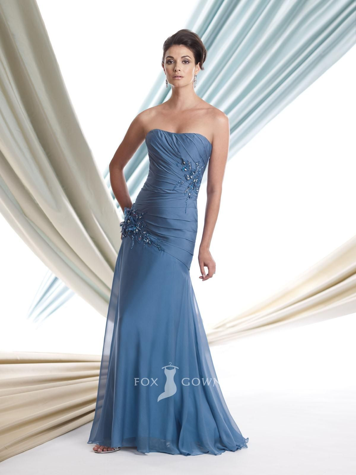 chiffon blue strapless floor length a-line long beaded floral mother ...