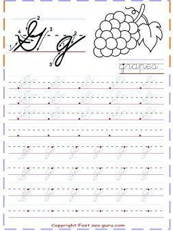 Free Printables Cursive Tracing Handwriting Practice Worksheets Letter G For