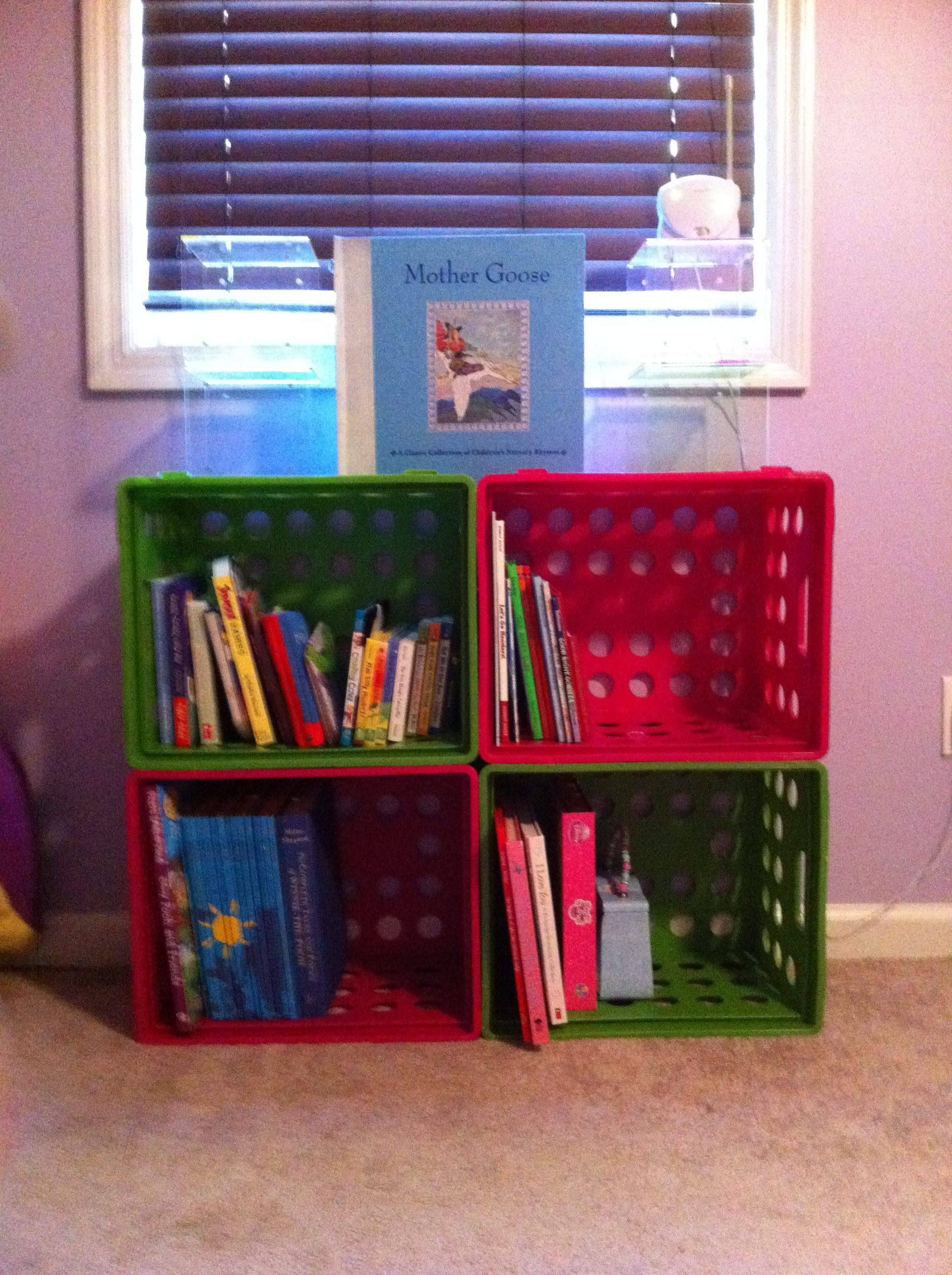 hannah s 10 bookcase 4 plastic crates from walmart zip ties rh pinterest com
