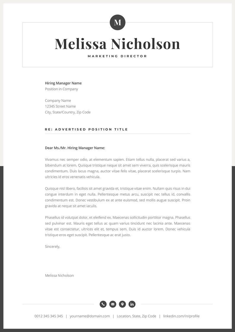 Modern Resume Template Creative Cv For Word Elegant Design Etsy