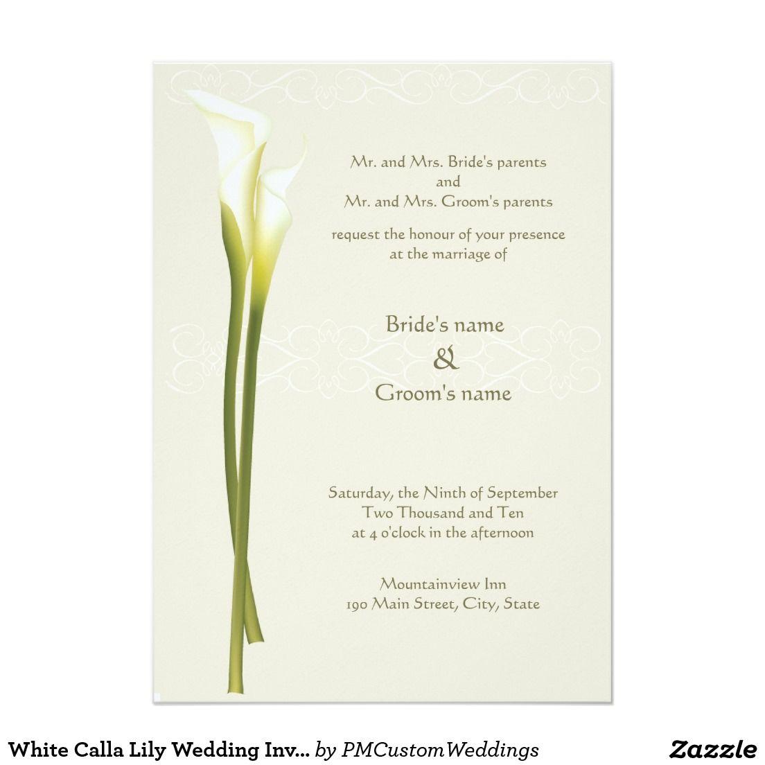 White Calla Lily Wedding Invitation   Wedding   Pinterest   Calla ...