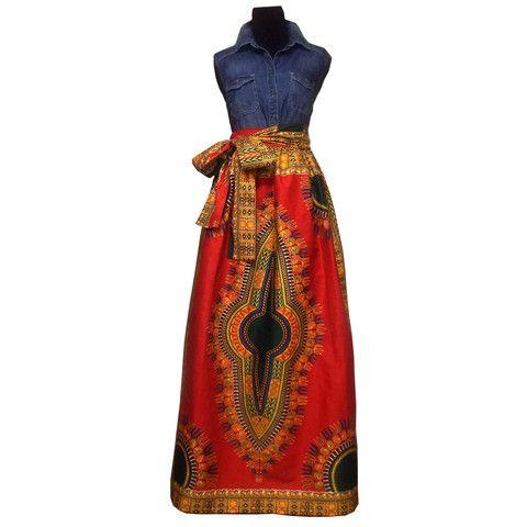 68caa1c36a Dashiki High-Waist African Print Maxi Skirt (Red) – D'IYANU | D ...