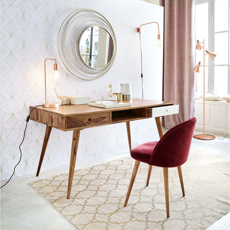 Chaise vintage en velours bordeaux et bouleau in 2019 ...