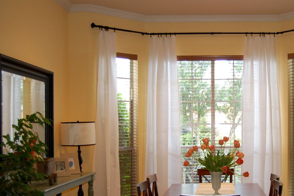 Furniture Elegant Bay Window Curtain Rod Extra Long Also Bay