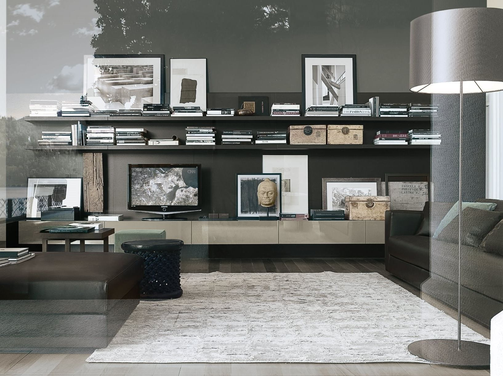 Sectional lacquered tv wall system sintesi by poliform design carlo