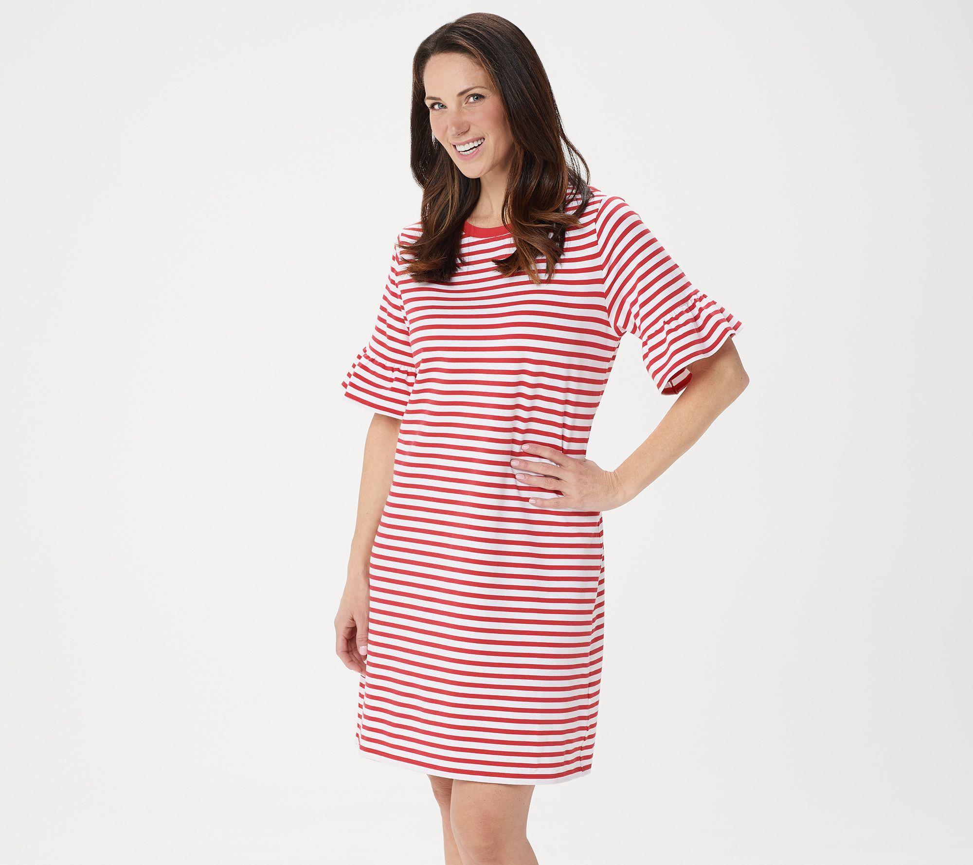 Isaac Mizrahi Live Ruffle Sleeve Striped Knit Dress Striped Knit Dress Knit Dress Striped Knit [ 1778 x 2000 Pixel ]