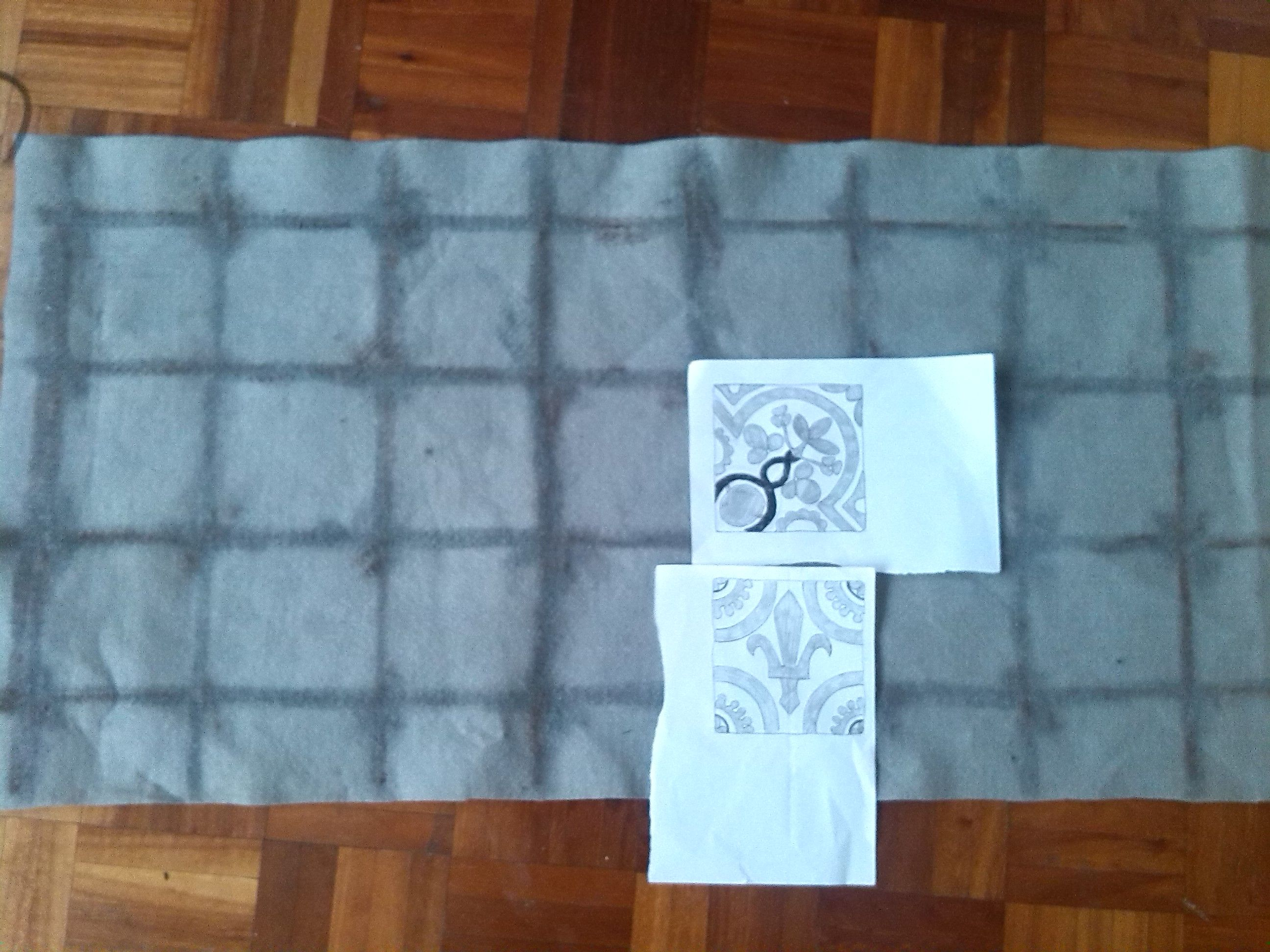 planning the layout of the floor tile panel of St. Cedds banner. LB ...