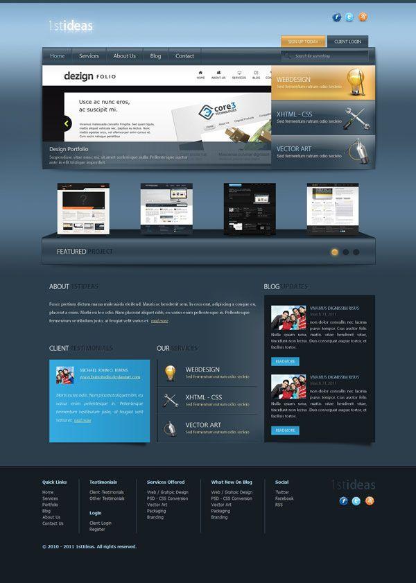 10 Great Psd To Html Tutorials Web Design Tutorials Business Design Business Website Templates