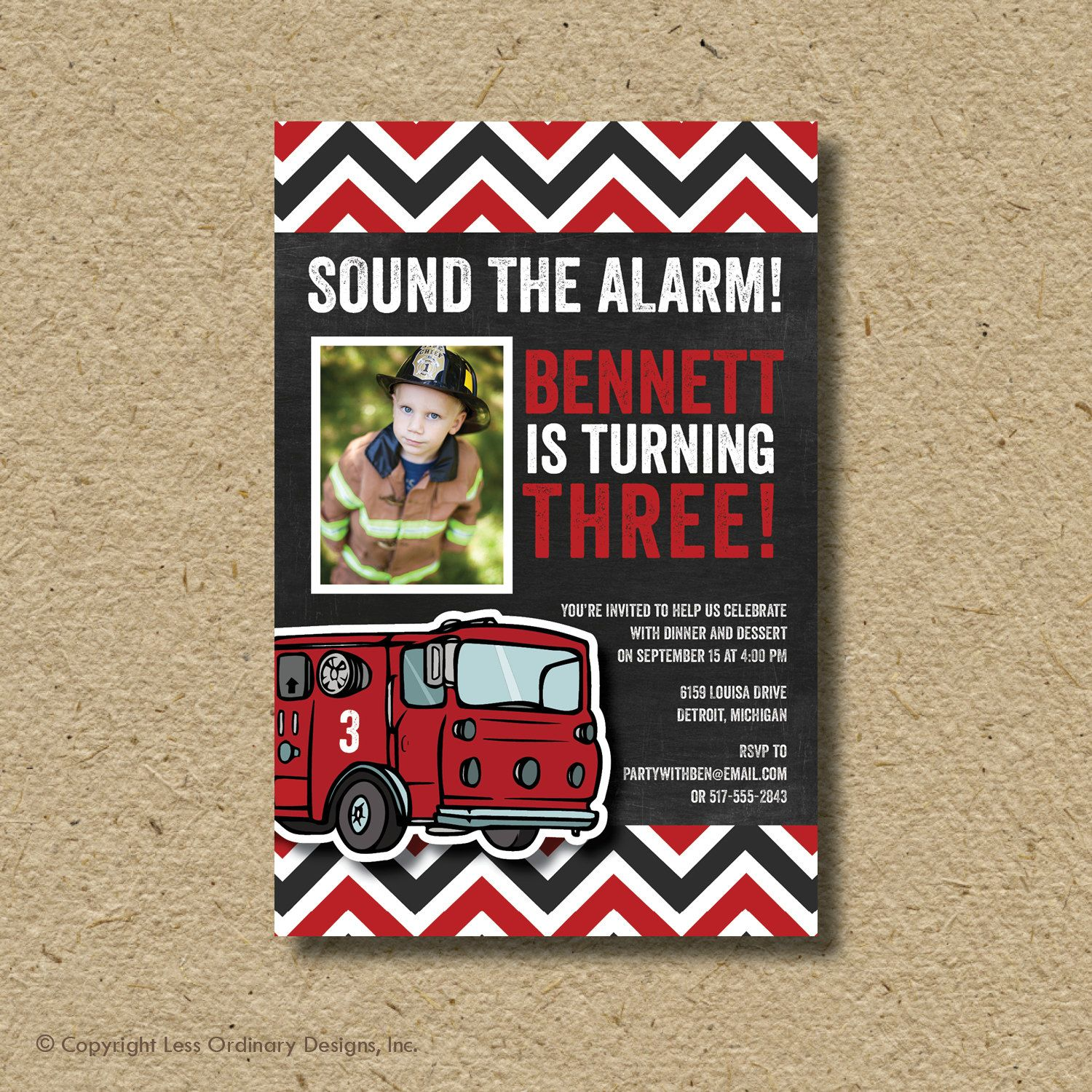 Fire Truck Birthday Party Invitation, Firefighter Photo Card ...