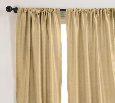 Dupioni Silk Pole Pocket Curtain Brownstone Cocktail
