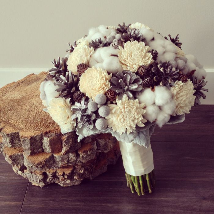 beautiful balsa wood, cotton, and pinecone bouquet for one of our winter weddings by cattleyaCHIC