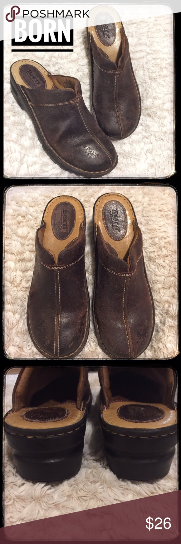 Born Distressed Leather Mules Clogs S9
