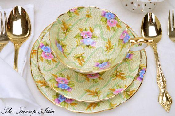 Royal Stafford Teacup and Saucer Trio Elizabeth Vintage