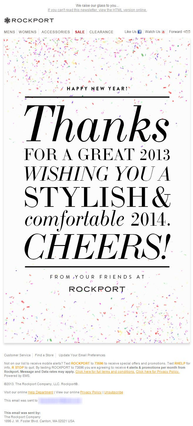 Sent 12 31 13 Sl Happy New Year From Your Friends At Rockport Happy New Year Email F Email Design Inspiration Email Marketing Examples Email Marketing Blog Happy new years email template