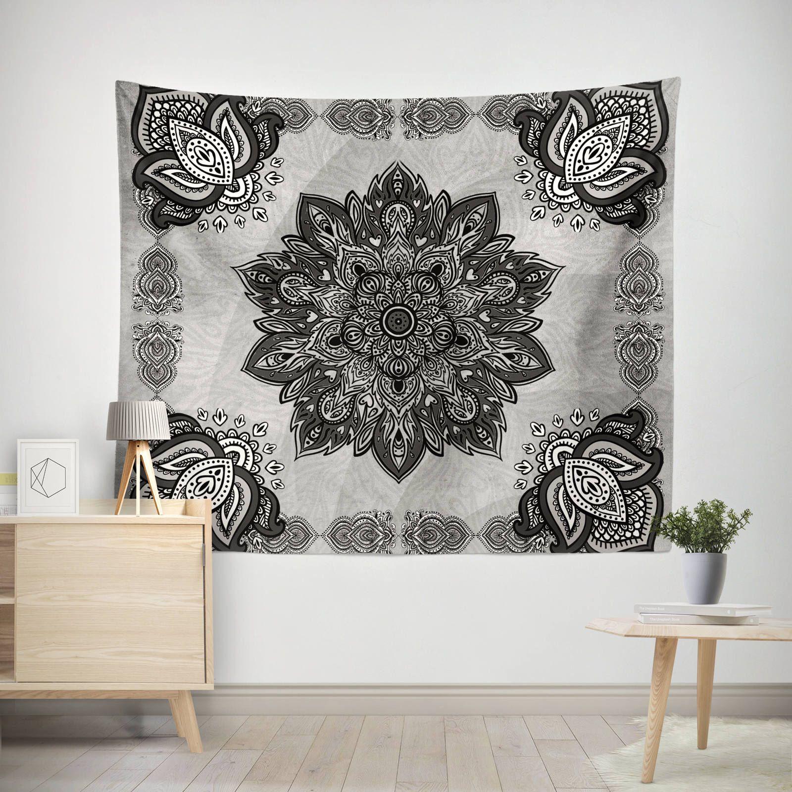 Mandala Tapestry Gray Mandala Tapestry Lotus Mandala Tapestry