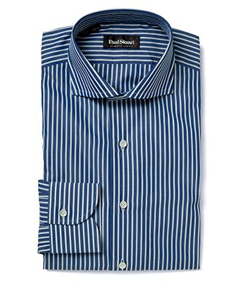 "Paul Stuart ""Stuart's Choice"" Blue 120's 2-ply Cotton Bengal Stripe Dress Shirt"