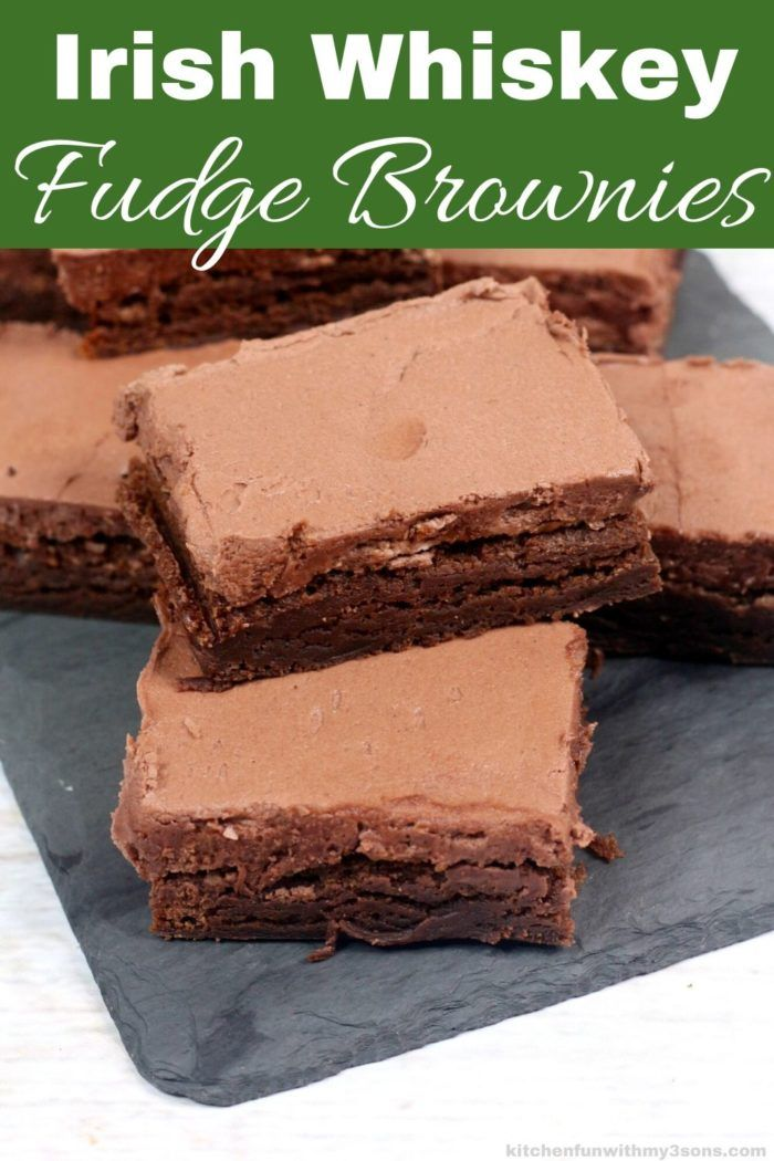 Photo of Irish Whiskey Brownies topped with Whiskey Fudge Frosting