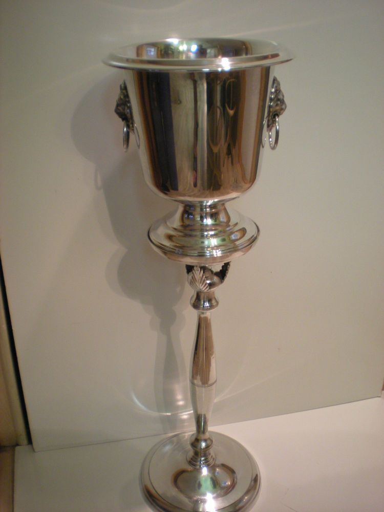 Vintage Silver Sheridan Champagne Wine Ice Bucket On Stand