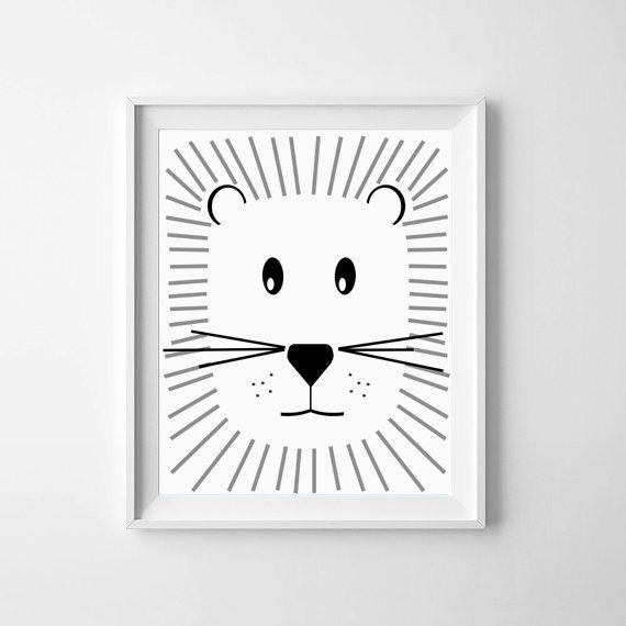 Illustration nursery printable baby lion black and white nursery art downloadable print