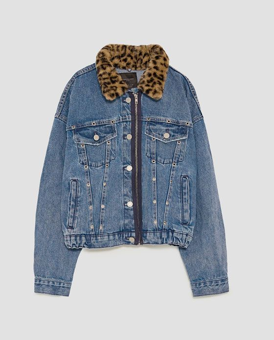 ad0accc25ab46 Denim jacket with leopard print faux fur collar.