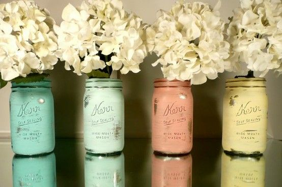Painted mason jars + hydrangeas
