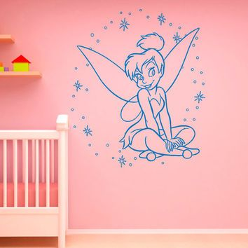 Tinkerbell Wall Decals Disney Princess Silhouette Fairy Girl Peter Pan Decal  Wall Stickers Baby Nursery Wall