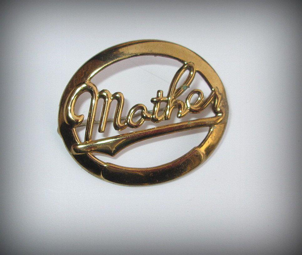 Antique Mother Pin Circular Brooch Gift Goldtone Metal Vintage by suburbantreasure on Etsy