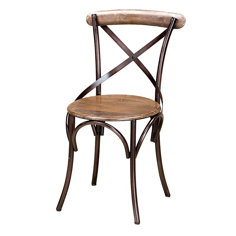 A Classic Metal And Wooden Side Chair, With A Curved Metal Strapped Back  And Iron