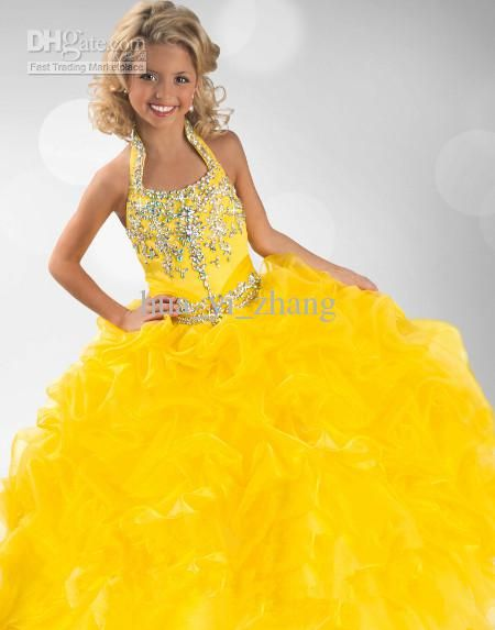 Wholesale 2013 Yellow Halter Ruffled Little Girl Ball Gowns 6346 ...