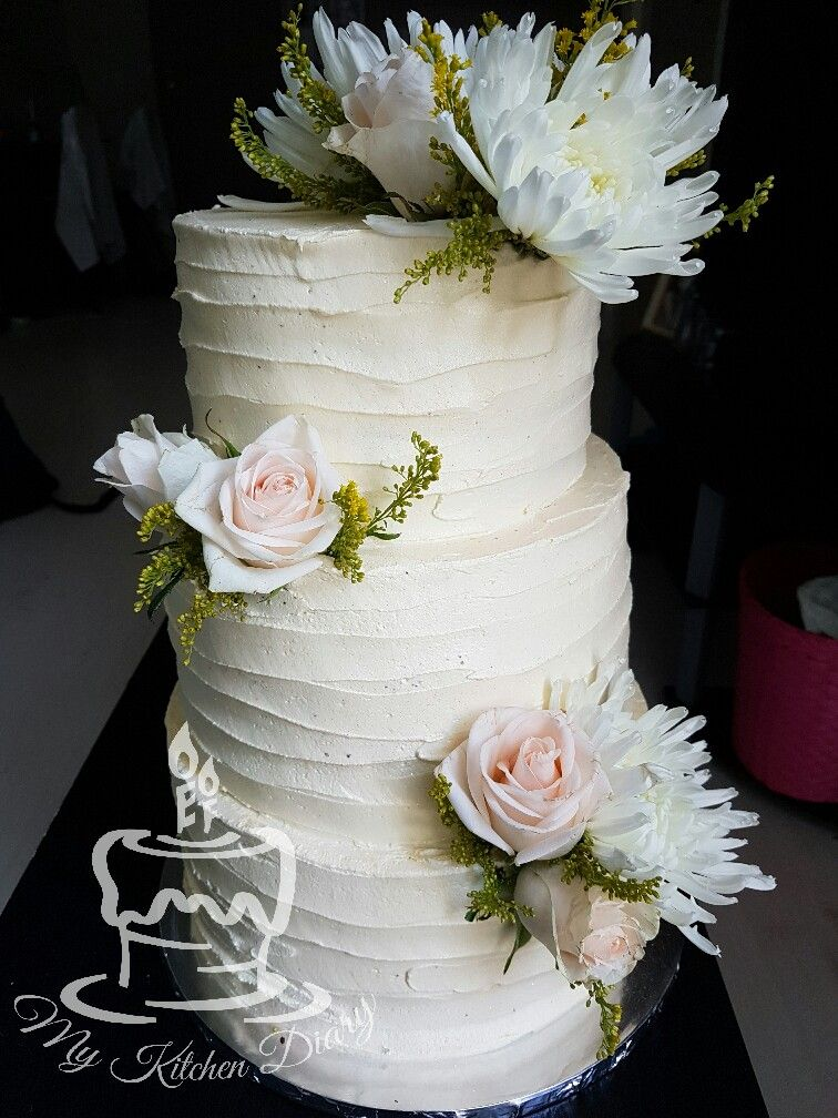 Three Tier Wedding Cake Vanilla Sponge And Chocolate With Textured Buttercream Fresh