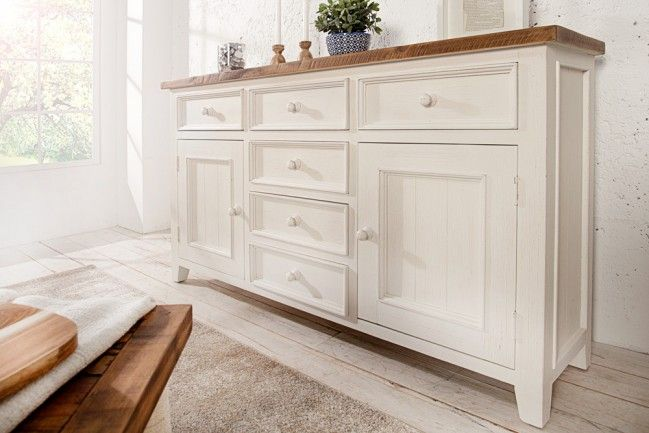 hochwertiges sideboard byron 160 cm pinienholz weiss. Black Bedroom Furniture Sets. Home Design Ideas