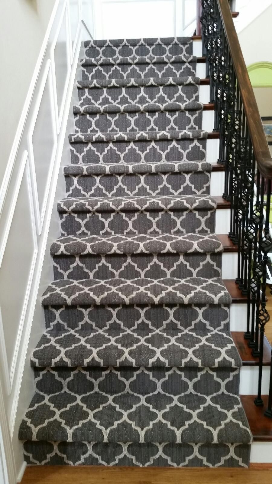 Patterned Carpets Are Luxurious Dramatic And Stylish | Grey Patterned Stair Carpet | Teal | Black | Farmhouse Style | Stair Landing | Wall