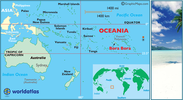 Mapa De Localizacion De Bora Bora Y De Oceania En El Mundo