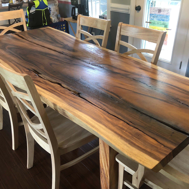 Live Edge Dining Table Acacia Wood Table Monkey Pod Slabs Etsy