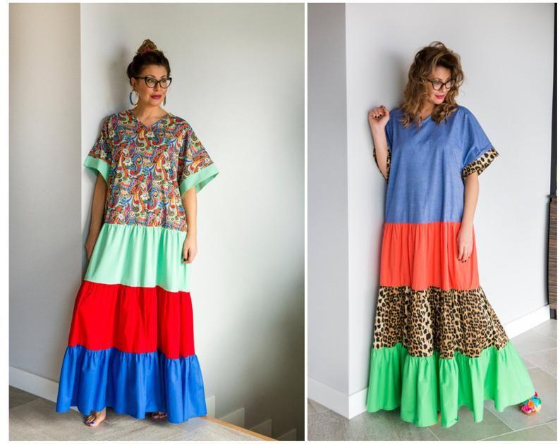 Plus Size Boho Dress Avant Garde Dress Colorblock Dress | Etsy