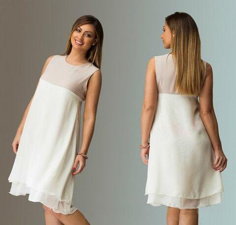 Mujeres sexy sueltas más el tamaño de vestidos 2015 del partido del vestido cut la gasa blanca del remiendo primavera verano casual en Vestidos de Moda y Complementos Mujer en AliExpress.com | Alibaba Group