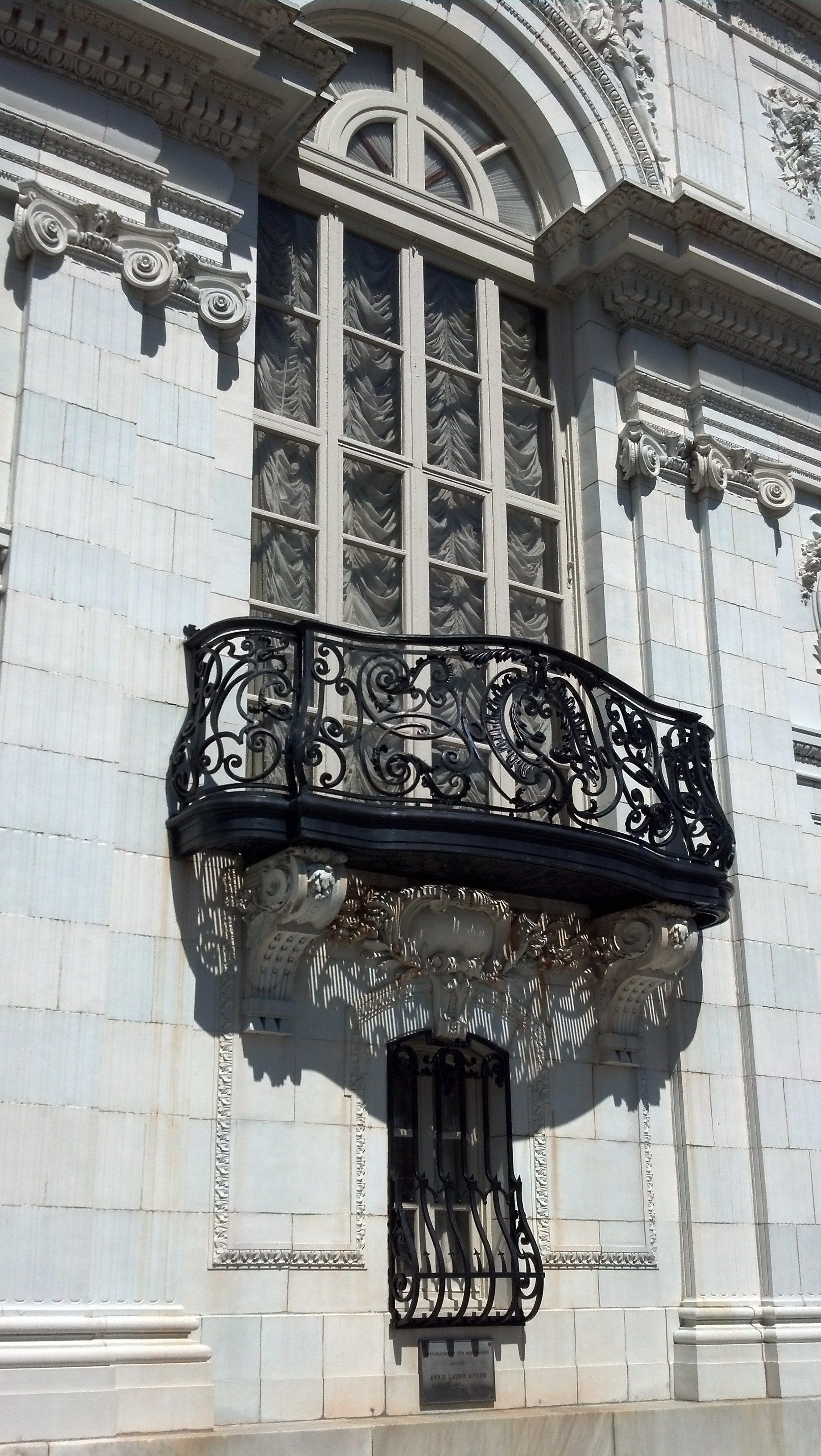 Rosecliff, detail of the Juliet balcony off the staircase.