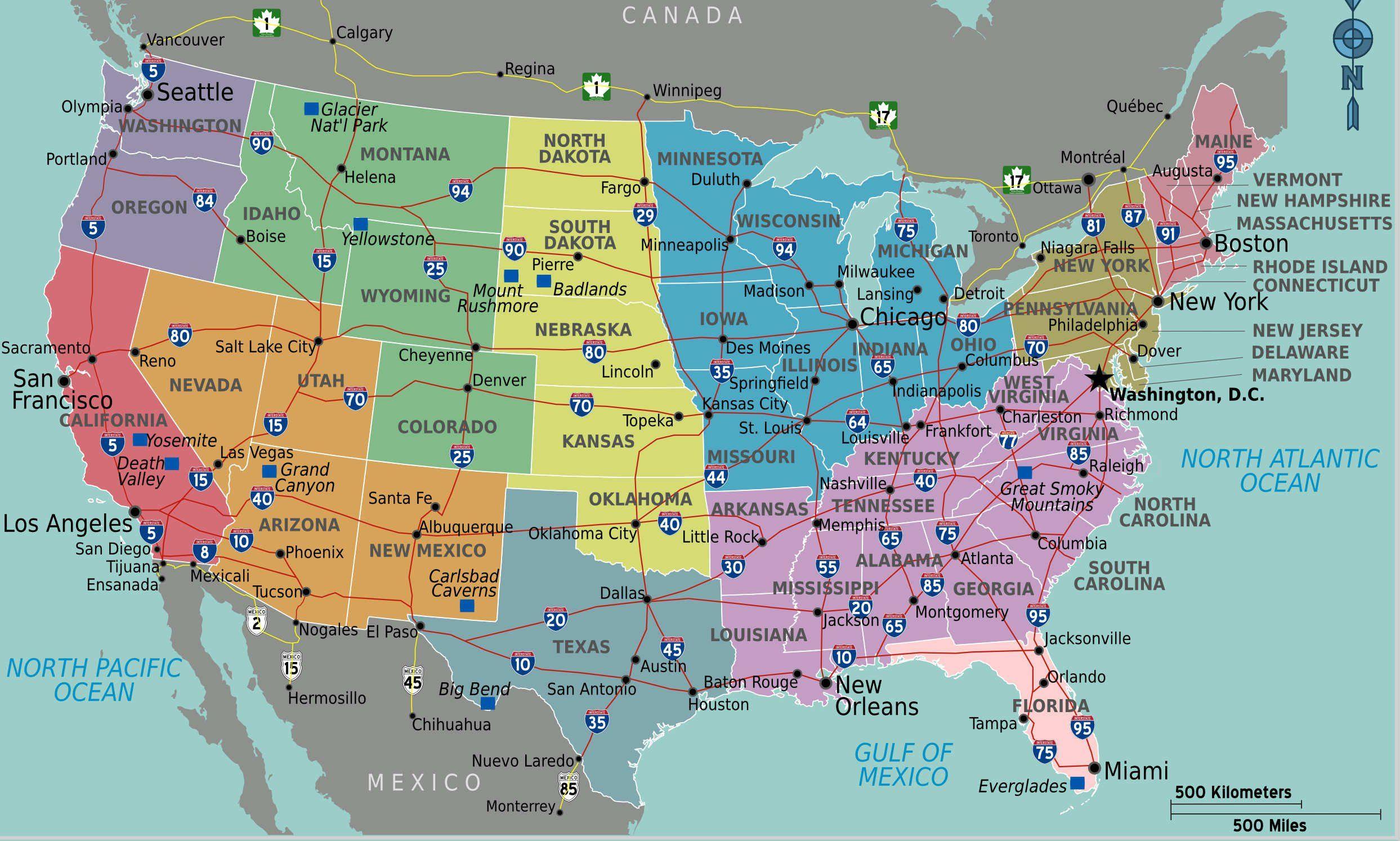 Carte Autoroutes Usa Etats Unis
