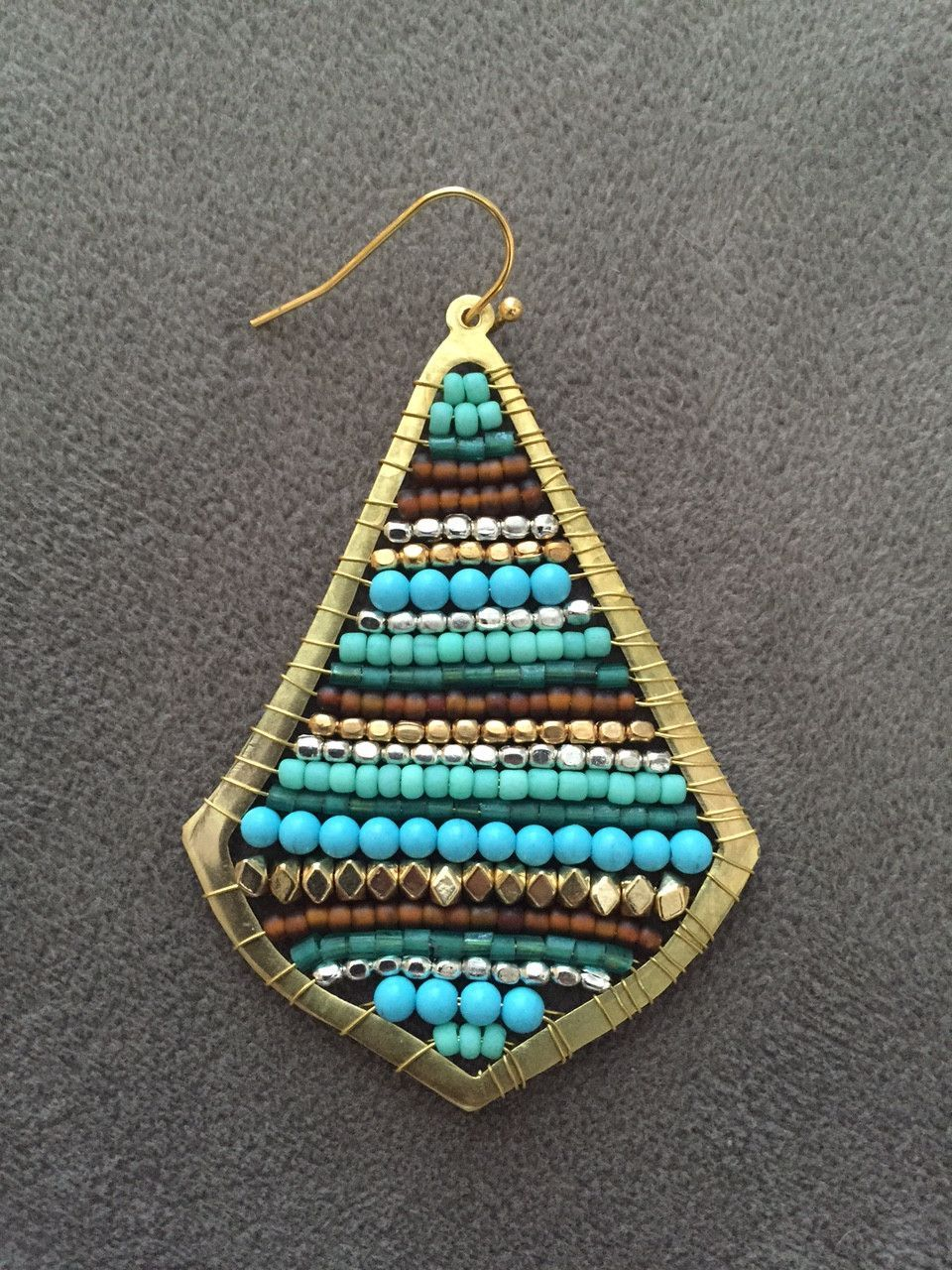 Turquoise and gold teardrop earrings