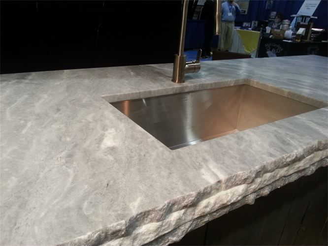 Sky White Quartzite. : Close Up Of Sky White Countertops With A Leathered  Finish.