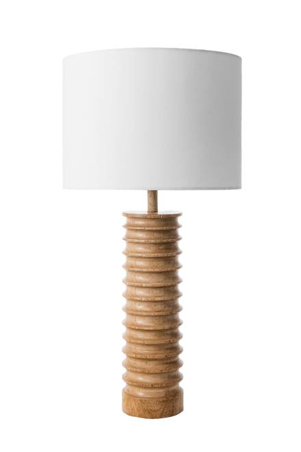 Revere 25 Inch Andromeda Wood Spiral Table Lamp Natural Lamp Rugs Usa Cotton Shade Table Lamp