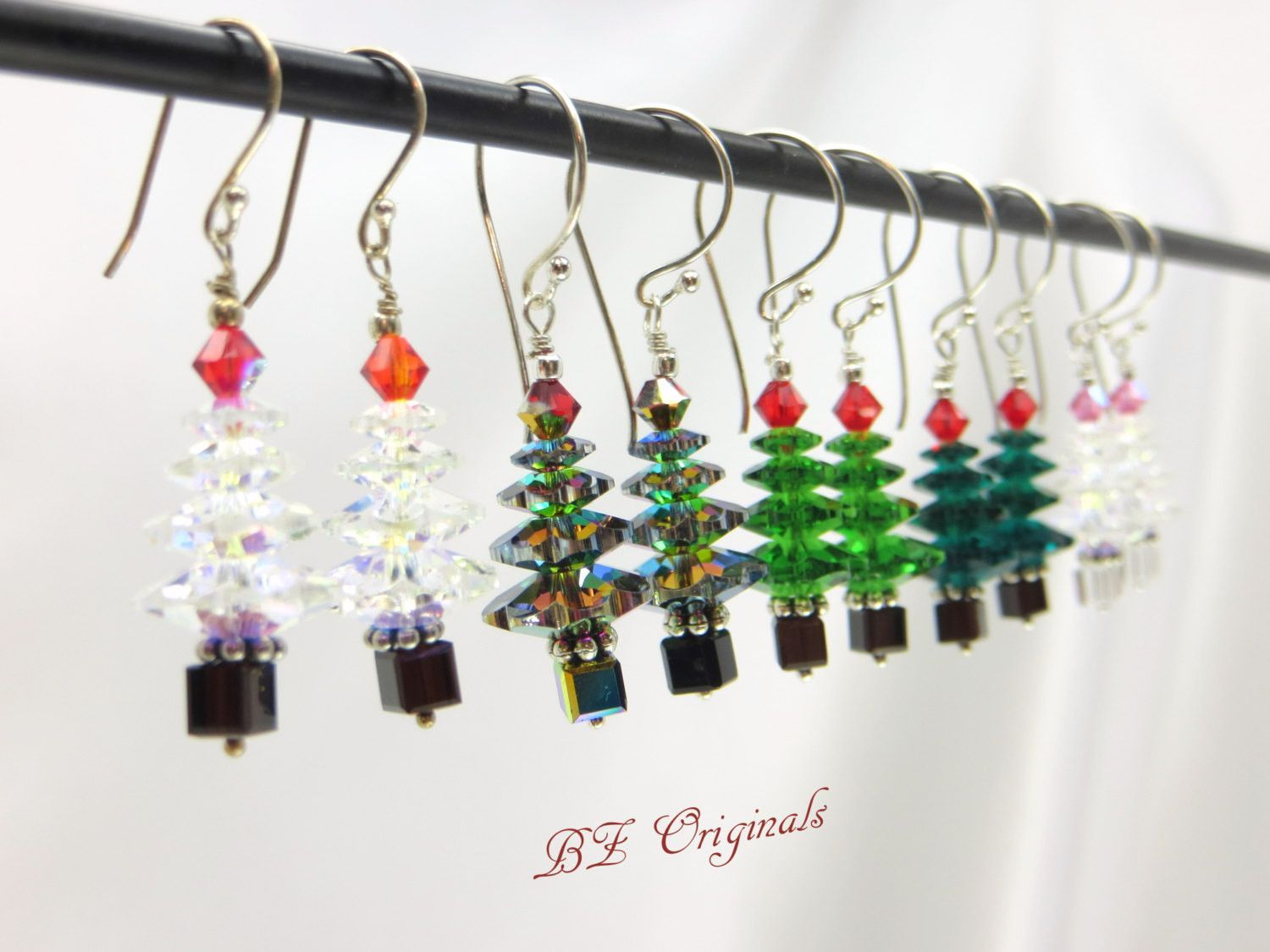 29e8c2072 Christmas Tree Earrings in Swarovski Crystal Copper on Copper Wires -  Choose from leverbacks or fishhooks. Tree: 4 Swarovski crystal copper  graduated sizes ...