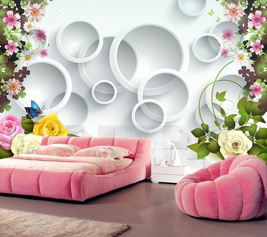 Beautiful 3d Rose Wallpaper Home Decoration For Bedroom Wall Sticker