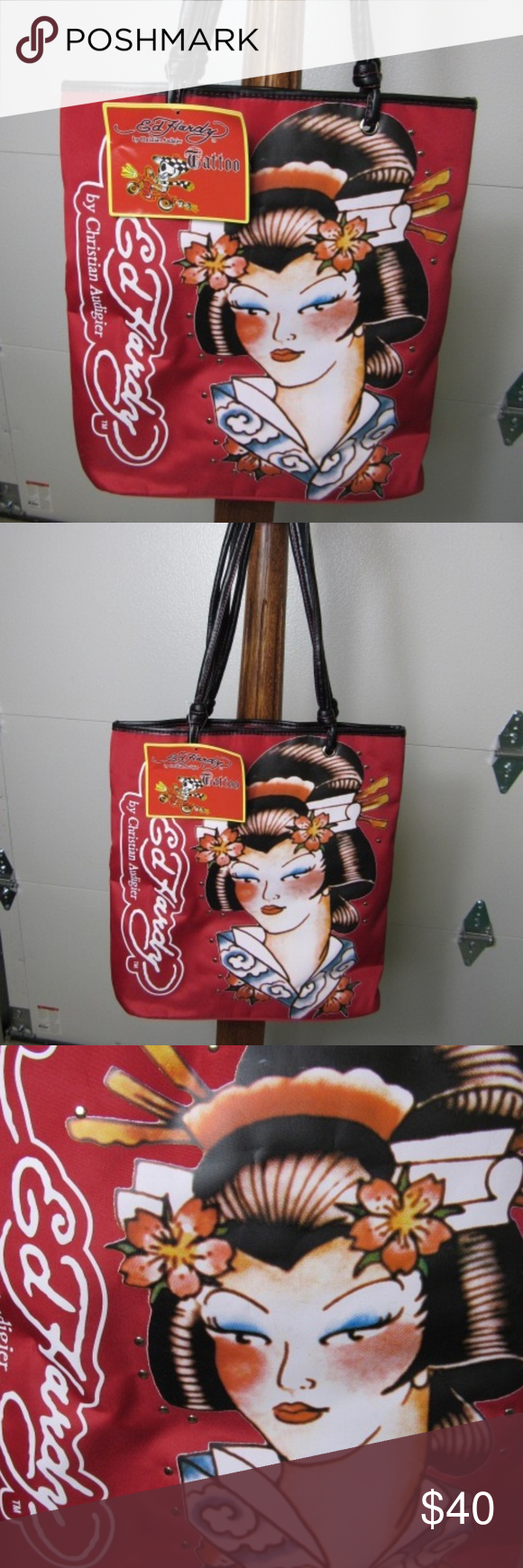 353c9ece927 Ed Hardy Christian Audigier Geisha Tote New with tag. Measures  approximately 14